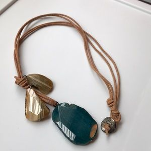 Jewelry - Adjustable Greek leather and stone necklace